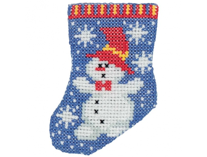 Snowman Sock Cross Stitch Kit фото 1