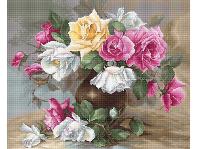 Vase with Roses Embroidery Kit фото 1