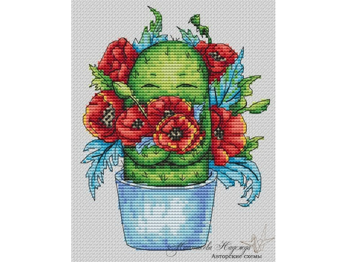 Cactus with Poppies Cross Stitch Pattern фото 1