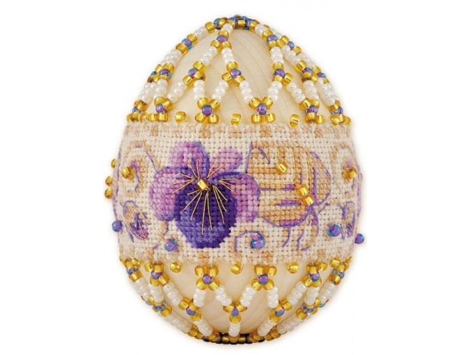 Violets Easter Egg Bead Embroidery Kit фото 1