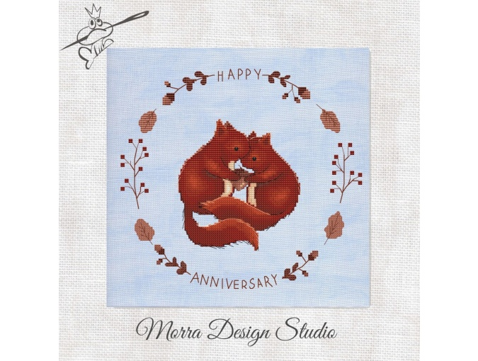 Happy Anniversary Cross Stitch Pattern фото 1