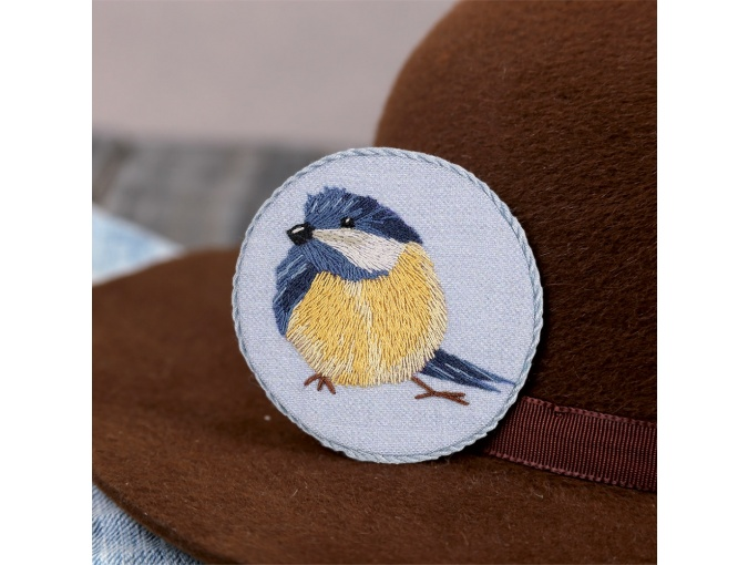 Blue Tit Brooch Embroidery Kit фото 1