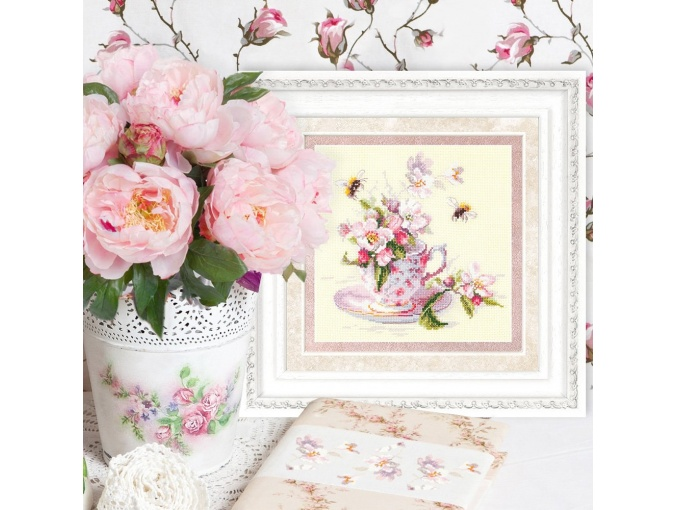 Cup and Apple Blossom Cross Stitch Kit фото 4