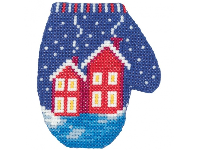 Houses Mitten Cross Stitch Kit фото 2