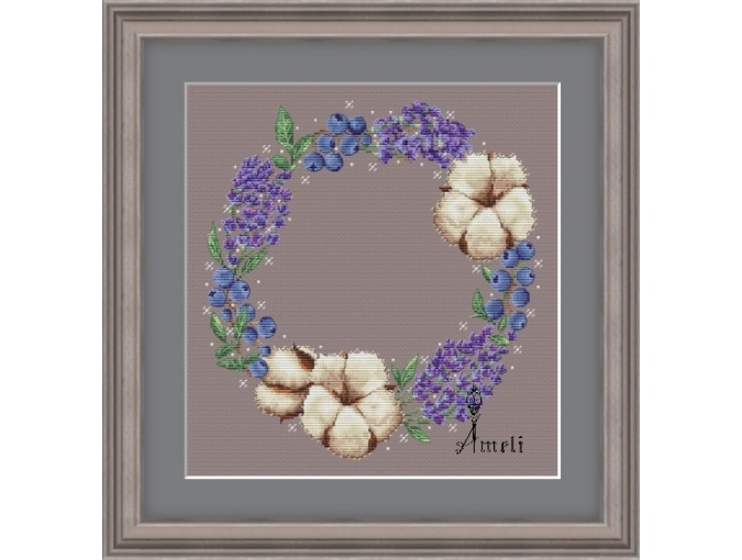 Flowers and Berries Wreath Cross Stitch Pattern фото 1