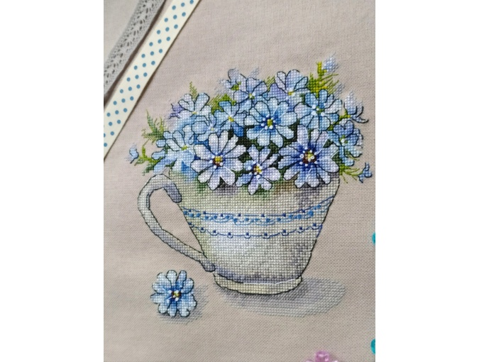 Cup with Flowers Cross Stitch Pattern фото 3