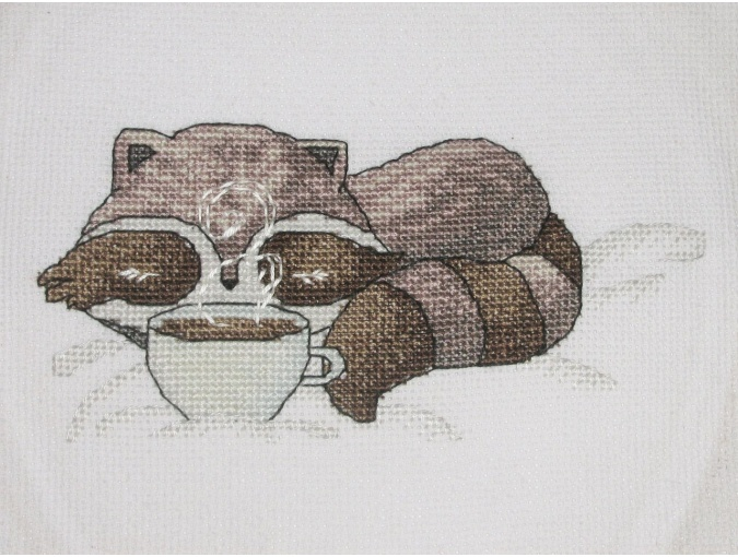 Little Raccoon with Coffee Cross Stitch Pattern фото 4