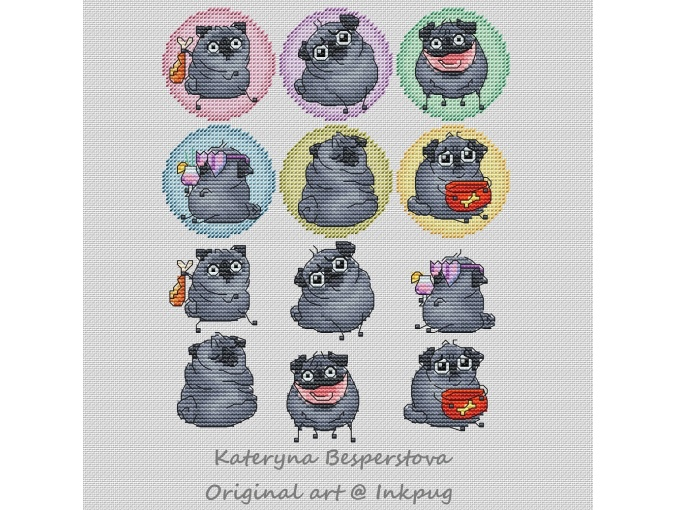 Mini Pugs Black Set2 Cross Stitch Pattern фото 1