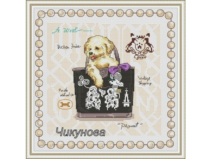 Pocket dogs. Bichon Frise Cross Stitch Pattern фото 1