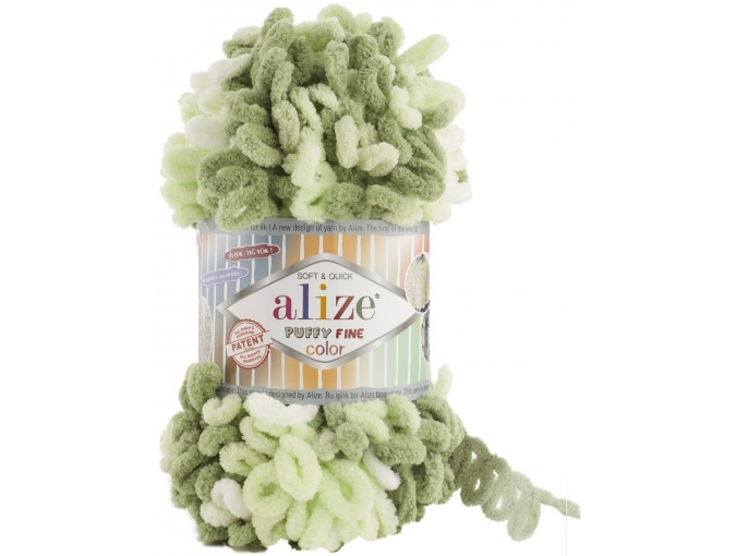 Alize Puffy Fine Color, 100% Micropolyester 5 Skein Value Pack, 500g фото 17