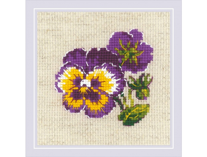 Pair of Pansies Cross Stitch Kit фото 1