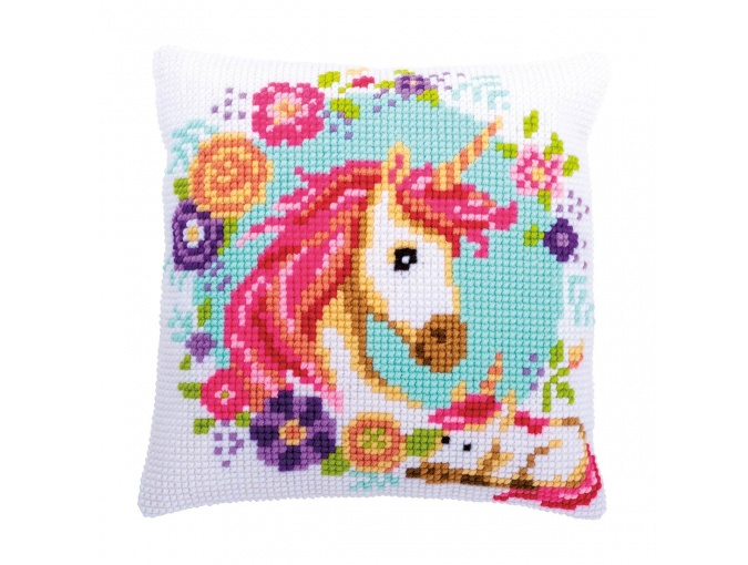 Mom and Baby Unicorn Cushion Cross Stitch Kit фото 1