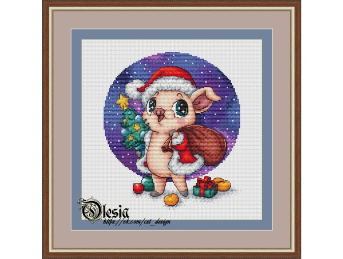 Piglet Santa Cross Stitch Pattern фото 1