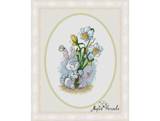 Bunny and Daffodils Cross Stitch Pattern фото 1