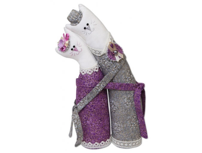 Silver Cat Couple Toy Sewing Kit фото 1