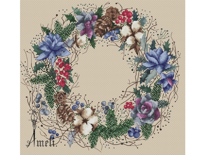Winter Dream Wreath Cross Stitch Pattern фото 2