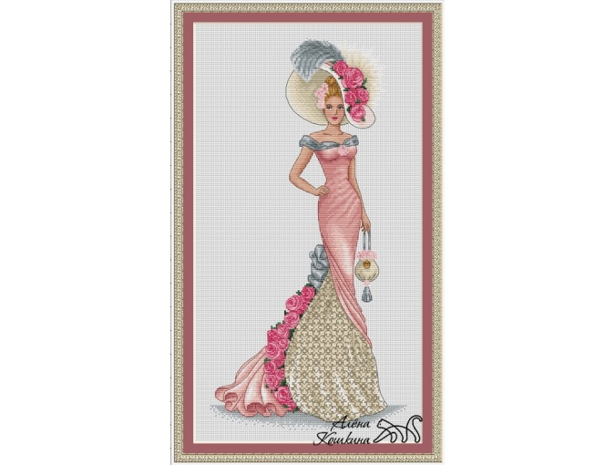 Lady with a Purse Cross Stitch Pattern фото 1