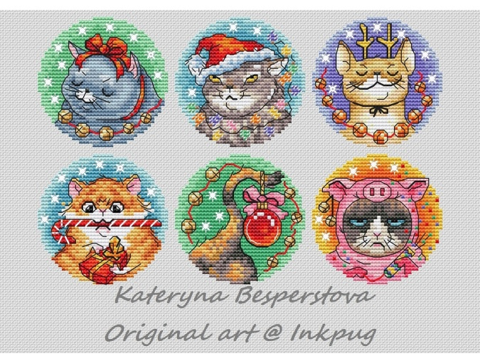 Christmas Kittens Cross Stitch Pattern фото 1