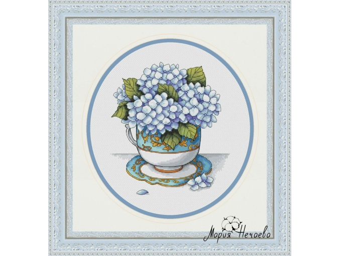 Cup with Hydrangea Cross Stitch Pattern фото 1