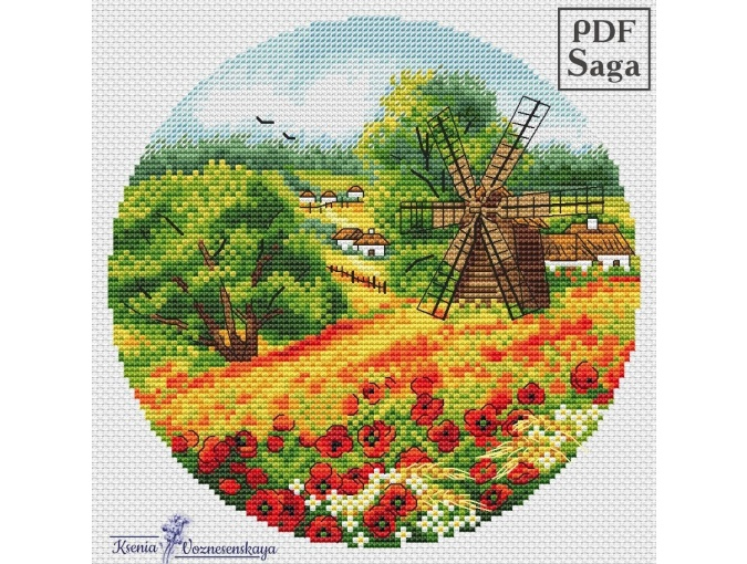 Poppies. In Field Cross Stitch Pattern фото 1