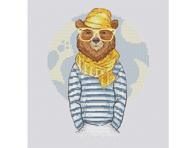 Hipster Bear Cross Stitch Pattern фото 1