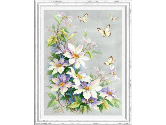 Clematis and Butterflies Cross Stitch Kit фото 1