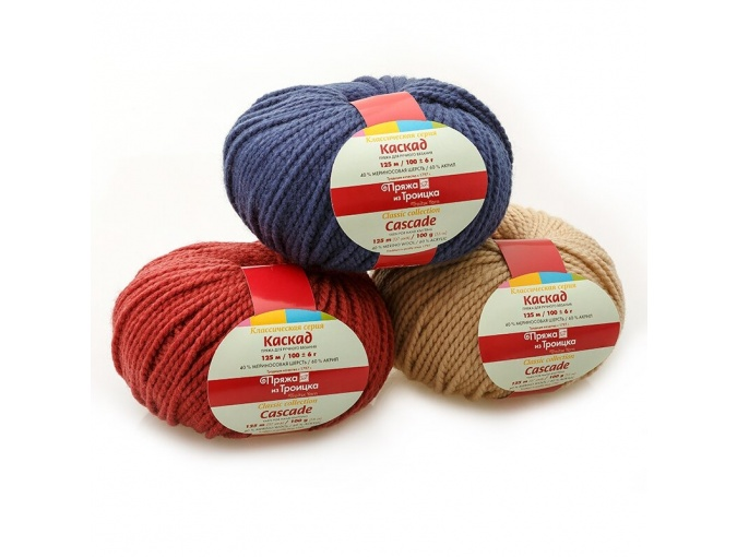 Troitsk Wool Cascade, 40% wool, 60% acrylic 10 Skein Value Pack, 1000g фото 1