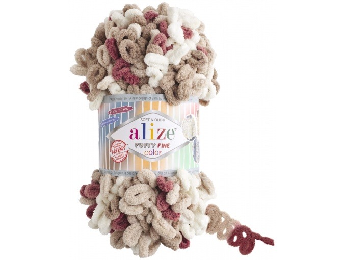 Alize Puffy Fine Color, 100% Micropolyester 5 Skein Value Pack, 500g фото 11
