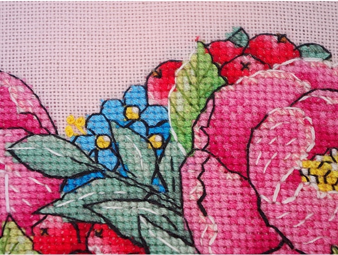 Peony Heart Cross Stitch Pattern фото 6