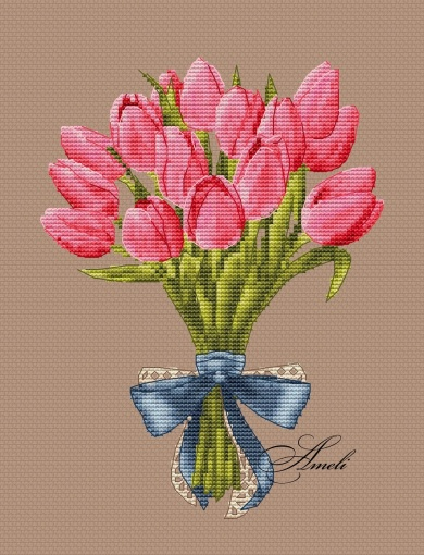 Pink Tulips with Bow Cross Stitch Pattern фото 2