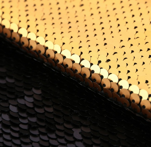 Matte Black/Gold Sequins Patchwork Fabric фото 2