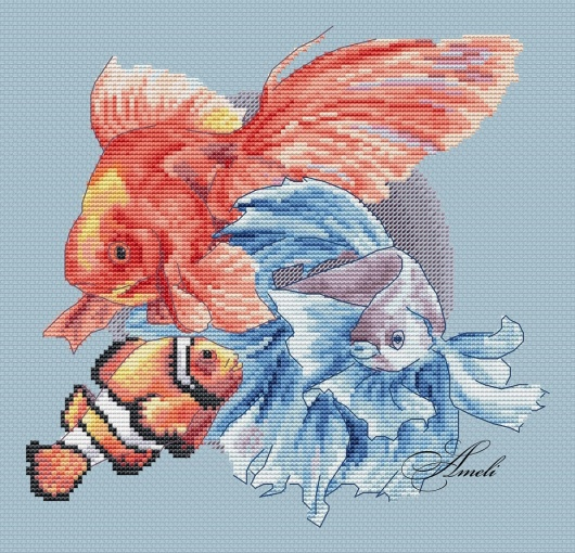 Exotic Fishes Cross Stitch Pattern фото 2