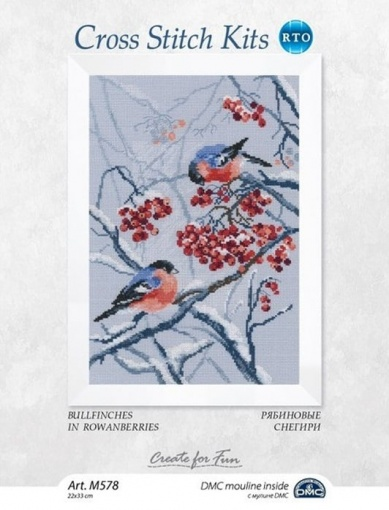 Bullfinches in Rowanberries Cross Stitch Kit фото 2